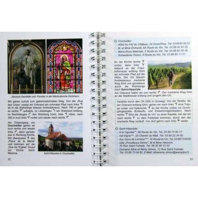 Blick ins Buch mit Wegbeschreibung, Unterkunftsmöglichkeit und Sehenswürdigkeiten.
