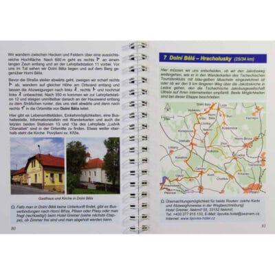 Blick ins Buch mit Wegbeschreibung, Karte und Übernachtungsmöglichkeit.