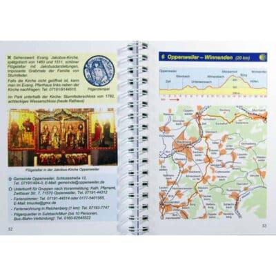Blick ins Buch mit Wegbeschreibung zur Etappe 6 und Karte mit Höhenprofil.