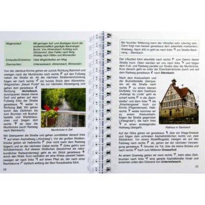 Blick ins Buch mit Wegbeschreibung und Infos zum Einkaufen und Übernachten.