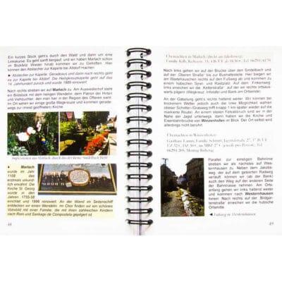 Blick ins Buch mit Wegbeschreibung, Unterkunft und Bildern.