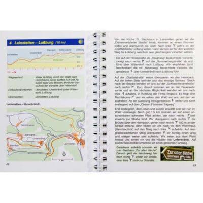Blick ins Buch mit Wegbeschreibung zur Etappe 4 und Karte mit Höhenprofil.
