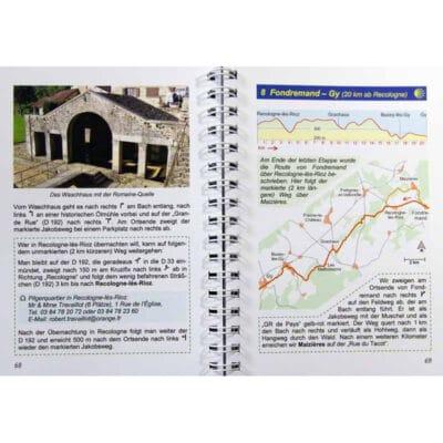 Blick ins Buch mit Wegbeschreibung, Karte und Höhenprofil sowie Unterkunftsmöglichkeit.