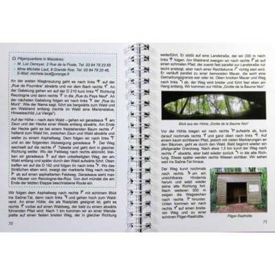 Blick ins Buch mit Wegbeschreibung, Unterkunftsmöglichkeit und Alternativstrecke.