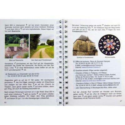 Blick ins Buch mit Wegbeschreibung, Bildern und Unterkunftsmöglichkeiten.