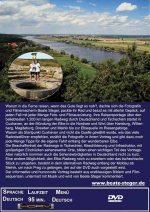 Blick von einem Aussichtssturm auf die Elbe und Infotext.