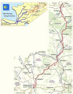 Kartenausschnitt der detaillierten Strecke Jakobsweg Erfurt-Rothenburg und Übersicht in Europa.