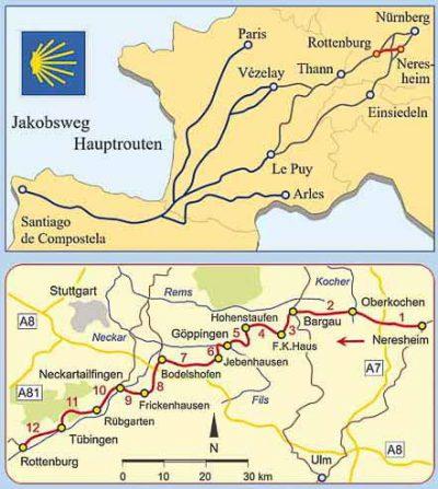 Karten des Jakobswegs von Neresheim nach Rottenburg.