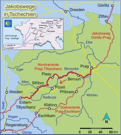 Kartenausschnitt der detaillierten Strecke Jakobsweg Prag - Tillyschanz / Eslarn.
