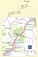 Kartenausschnitt der detaillierten Strecke Jakobsweg Rothenburg-Rottenburg und weiterführender Weg nach Thann und Gy.