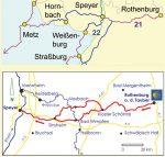 Kartenausschnitt der detaillierten Strecke Jakobsweg Rothenburg-Speyer und weiterführender Weg nach Hornbach und Metz.