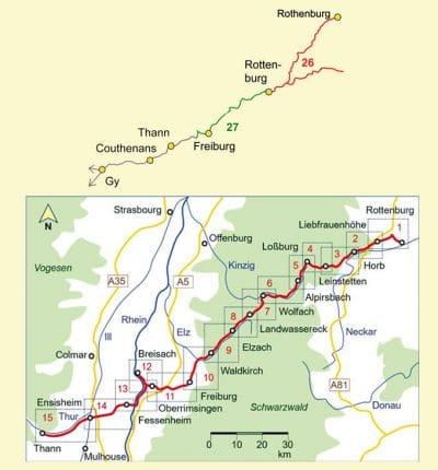 Kartenausschnitt der detaillierten Strecke Jakobsweg Rottenburg-Thann sowie vorheriger Weg.