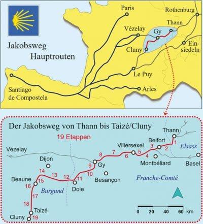 Europakarte und Karte gezoomt auf die Strecke.