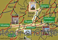 Übersichtskarte mit Covern der Pilgerführer.