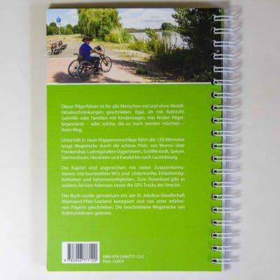 Rückseite mit Bild Rollstuhlfahrer und beschreibendem Text.