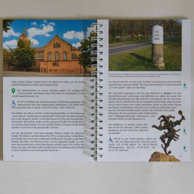 Wegbeschreibung mit Bildern und erläuterndem Text.