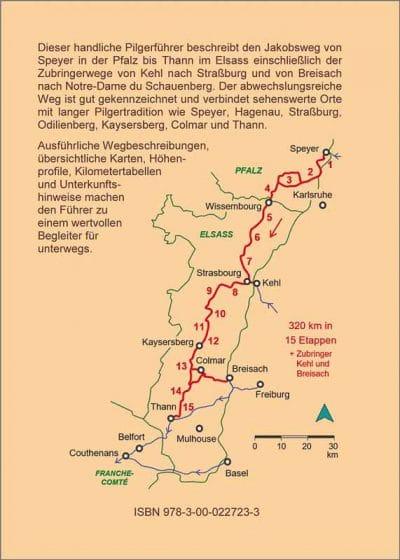 Wegbeschreibung und Karten des Jakobswegs Elsass.