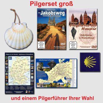 bestehend aus Jakobsmuschel, Flockmuschel, beide DVDs, beide Posterkarten, ein Pilgerführer.