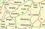 Karte und viele kleine Wegzeichen von Jakobswegen in Deutschland.