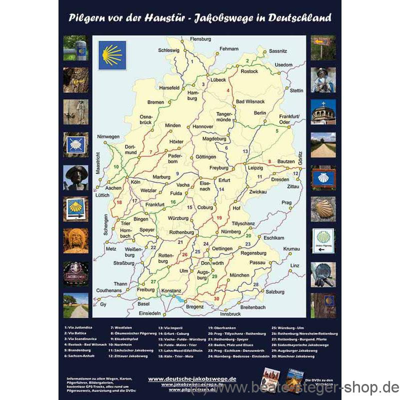 Jakobsweg Karte Deutschland.Poster Jakobswege In Deutschland