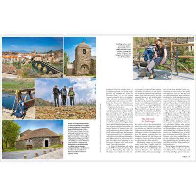 linke Seite viele Bilder vom Camino Frances, rechts Bild von Beate Steger und Teil des Textes.