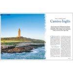 erste Doppelseite über den Camino Ingles mit großem Bild und Text.