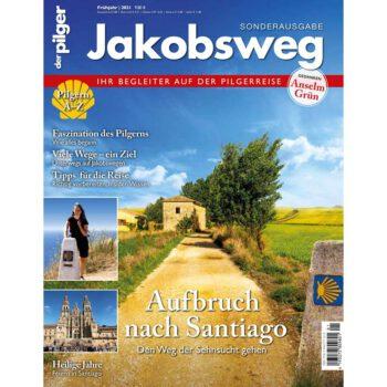 Cover Sonderheft mit Wegstrecke und Einklinkern, Beate Steger in Finisterre und Kathedrale.