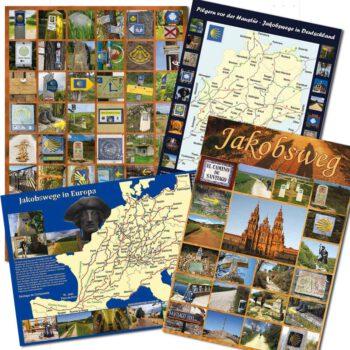 Poster mit Bildern von vielen Wegzeichen von verschiedenen Jakobswegen in Kombi mit anderen Postern.